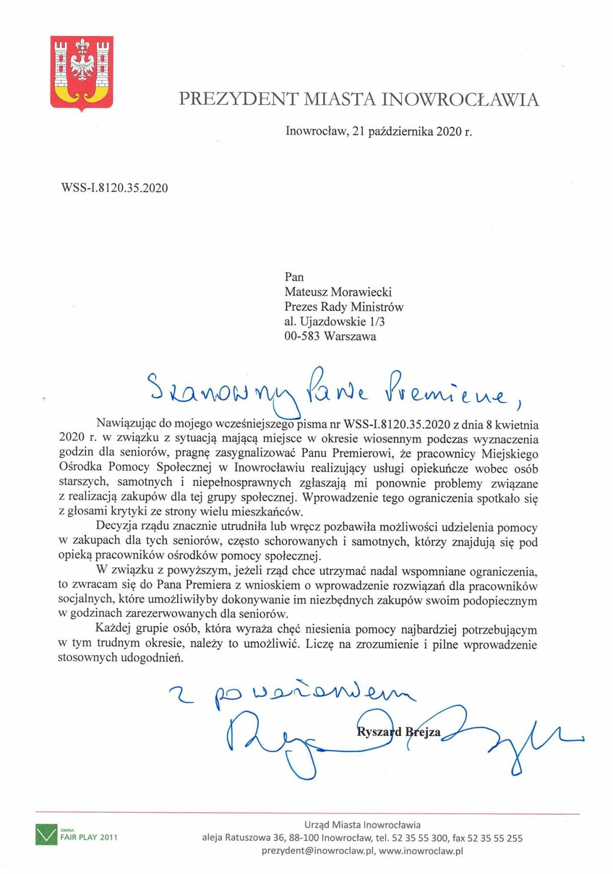 Pismo do premiera Morawieckiego